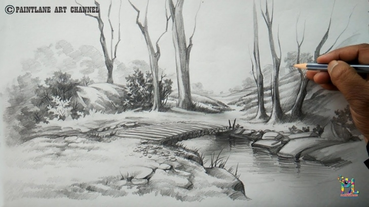Fantastic Scenery Sketch Easy Lessons How To Draw A Easy And Simple Scenery With Pencil | Step By Step Photos