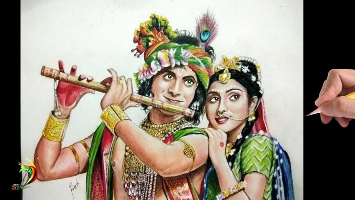 Serial Radha Krishna Pencil Sketch
