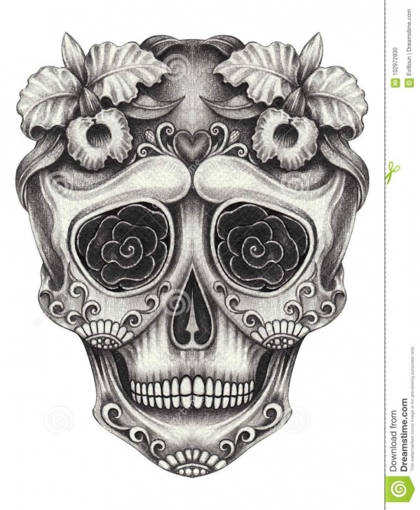 Fantastic Skull Pencil Drawings Free Art Sugar Skull Day Of The Dead. Hand Pencil Drawing On Paper. Stock Image