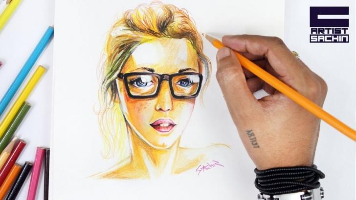 Fantastic Watercolor Pencil Portrait Techniques Watercolor Pencil Portrait | Girl With Goggles Picture