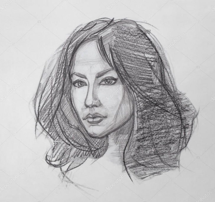 Fantastic Woman Pencil Drawing Lessons Female Portrait - Pencil Drawing — Stock Photo © So_Decor #105978948 Images