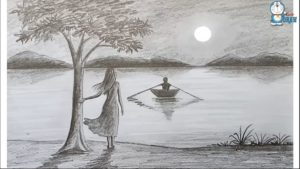 Fascinating Beautiful Scenery Sketch Step by Step How To Draw Scenery Of Moonlight Night By Pencil Sketch.. Step By Picture
