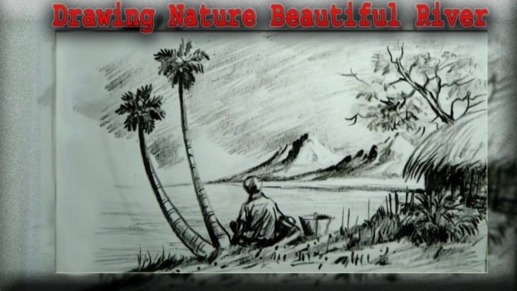 Fascinating Beautiful Sketches Of Nature Tutorials How To Drawing Nature Beautiful River With Pencil Sketch | Drawing For Kids Images