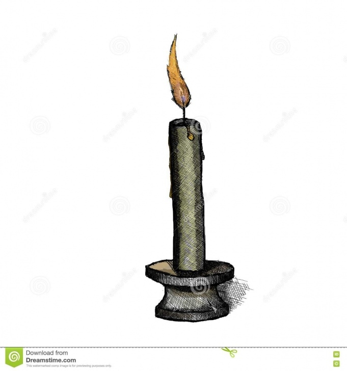 Fascinating Candle Pencil Drawing Ideas Candle On A Candlestick Stock Illustration. Illustration Of Images