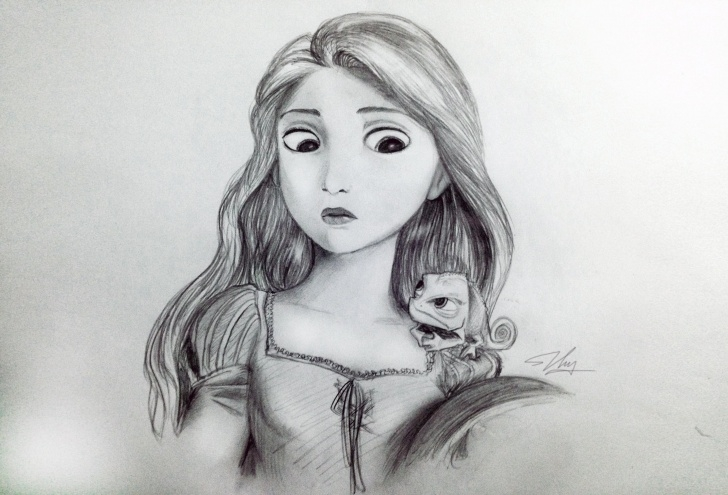 Fascinating Disney Pencil Drawings Tutorial My Rapunzel Pencil Drawing : Disney Pics