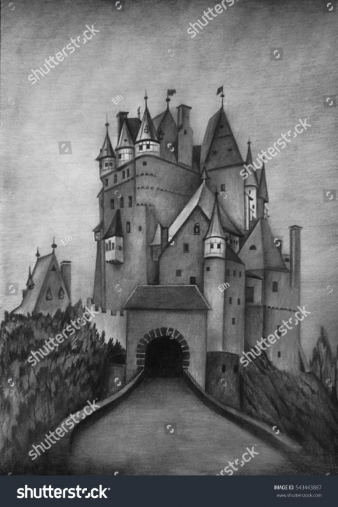 Fascinating Gothic Pencil Drawings for Beginners Castle Pencil Sketch And Pencil Drawing Gothic Castle Stock Image