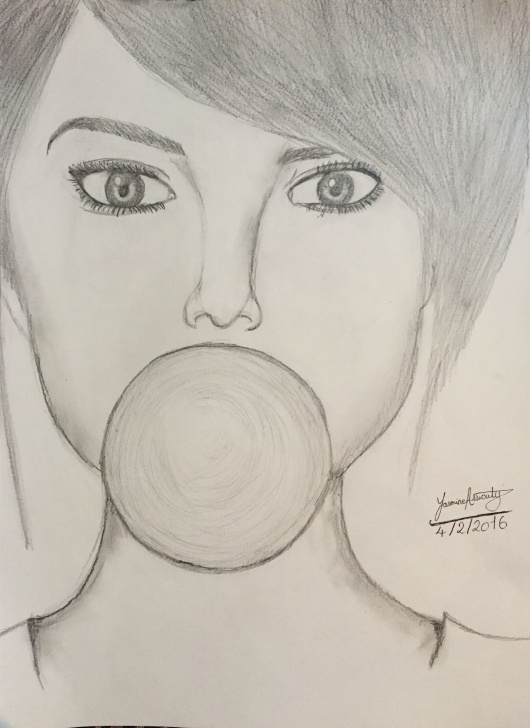 Fascinating Graphite Drawings For Beginners Tutorial Easy Pencil Drawing For Beginners. Girl Eating A Bubblegum | Drawing Images