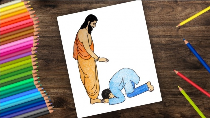 Fascinating Guru Purnima Pencil Sketch Step by Step How To Draw Guru Purnima, Guru Purnima 2018, गुरु पौर्णिमा Photo
