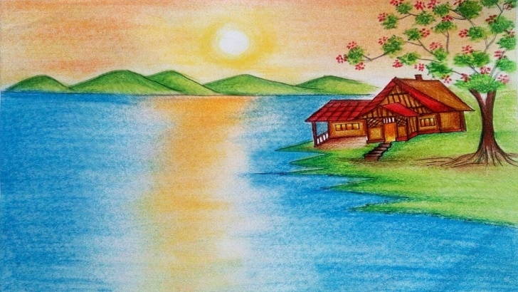 Fascinating Images For Drawing Natural Scenary Simple Natural Scenery Drawing - How To Draw Nature Scenery With Sunrise Step By  Step Images