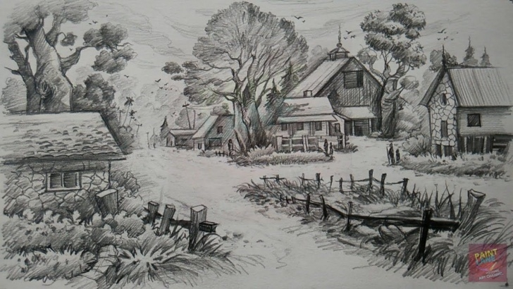 Fascinating Landscape Drawing Pencil Shading Tutorial A Landscape With Pencil | Pencil Art | Paintlane | Art In 2019 Photo