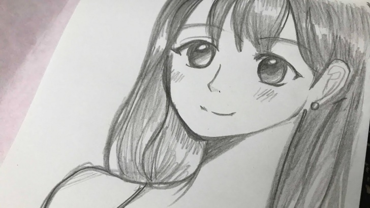 Fascinating Manga Sketches In Pencil Simple Drawing Manga Girl With Pencil (No Time Lapse Drawing) Photo