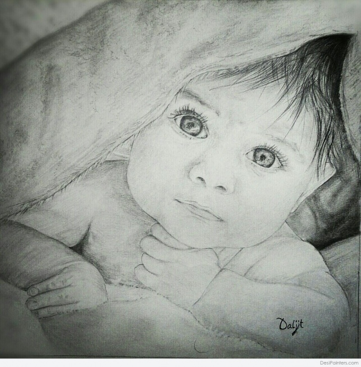 Fascinating New Pencil Sketch Techniques Pencil Sketch Of New Born Baby | Desipainters Pic