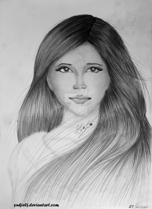 Fascinating Pencil Drawing Of Girl Face Tutorials Realistic Drawing - Female Face, Long Hair :) By Yukielf On Deviantart Pictures