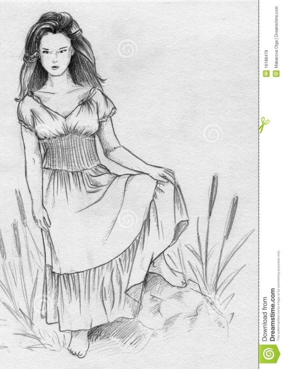 Fascinating Pencil Sketch Of A Girl Standing Techniques for Beginners Swamp Witch Stock Illustration. Illustration Of Woman - 16188478 Images