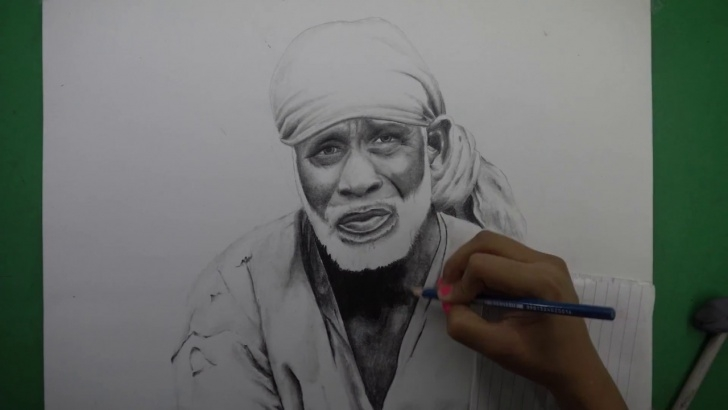 Fascinating Pencil Sketch Of Sai Baba Step by Step Drawing Sai Baba 4K Pic