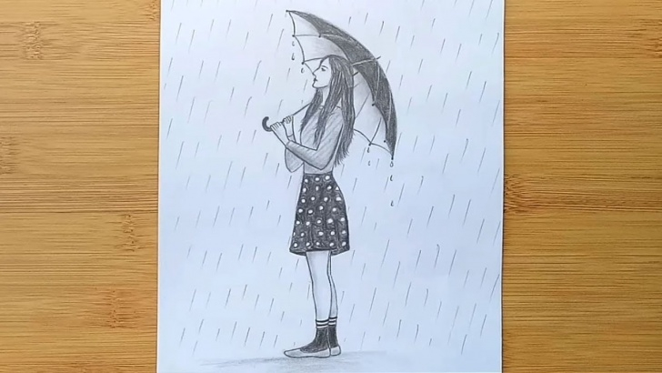 Fascinating Pencil Sketches Of Girl In Rain Step by Step How To Draw A Girl With Umbrella Step By Step / A Rainy Day Pencil Sketch Images