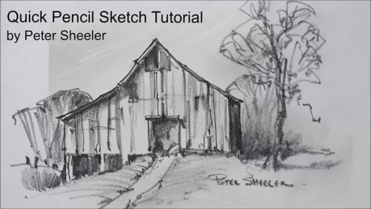 Fascinating Quick Pencil Sketches Techniques for Beginners Sketching Tutorial With Pencil. Quick And Easy Techniques. Barn Sketch By  Peter Sheeler Picture