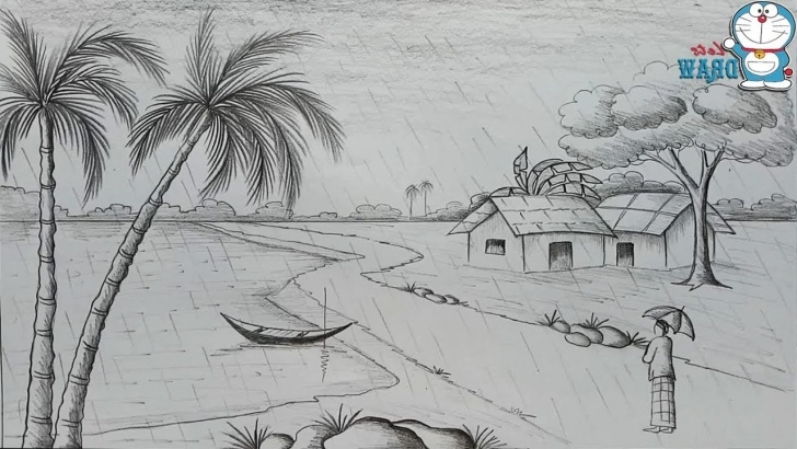 Fascinating Rainy Day Pencil Drawing Techniques Rainy Season Sketch At Paintingvalley | Explore Collection Of Image