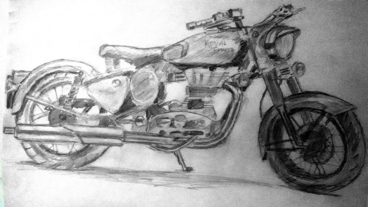 Fascinating Royal Enfield Pencil Sketch for Beginners Royal Enfield Bullet | Pencil Drawing Pic