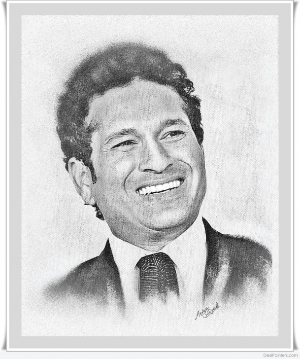 Fascinating Sachin Tendulkar Pencil Sketch for Beginners Digital Painting Of Sachin Tendulkar | Desipainters Photo