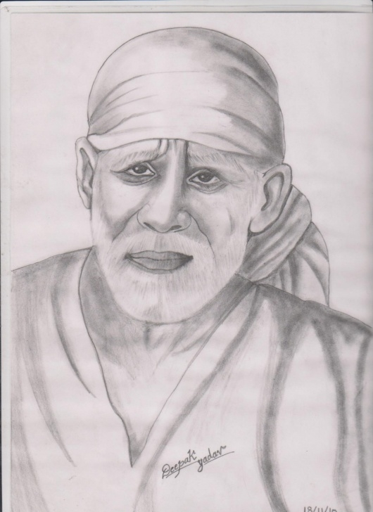 Fascinating Sai Baba Pencil Drawing Techniques Sai Baba Sketch Drawing And Pencil Sketch My Photo Sai Baba Pencil Pics