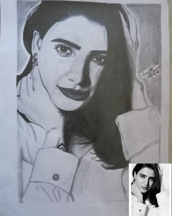 Fascinating Samantha Pencil Drawing for Beginners Samantha , Samantha Pencil Art ,pencil Sketch , Realistic Arts Photos