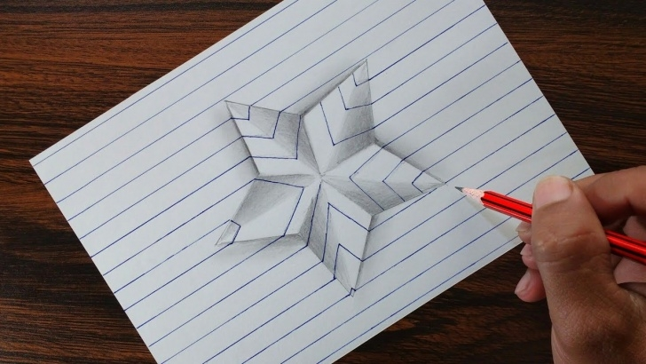 Fascinating Simple 3D Drawings On Paper With Pencil Techniques for Beginners Very Easy!! 3D Star On Line Paper - Trick Art Drawing Photo