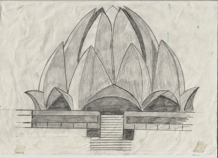 Fascinating Temple Pencil Drawing for Beginners Pencil Sketch Of Lotus Temple And Random Sketches   Manchester Image