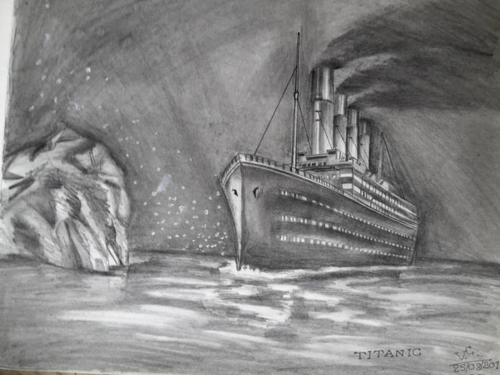 Fascinating Titanic Pencil Drawing Simple Titanic Drawing, Pencil, Sketch, Colorful, Realistic Art Images Image