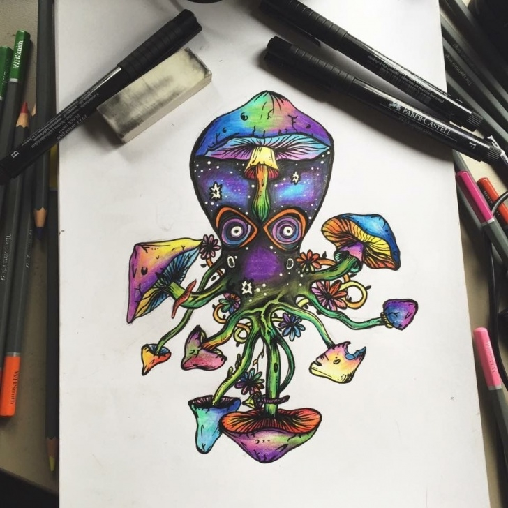 Fascinating Trippy Pencil Drawings Free Trippy Multicolour Octopus Drawing In Pen And Pencils | Trippy In Pictures