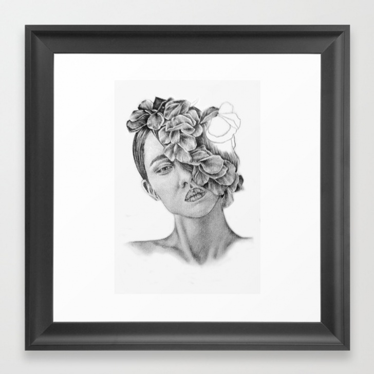 Fascinating Wall Pencil Drawing Tutorial Art - Pencil Drawing - Illustration - Portrait - Model -Flowers - Gift -  Wall Decor Framed Art Print Photos