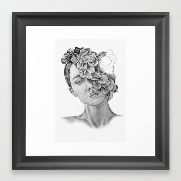 Fascinating Wall Pencil Drawing Tutorial Art - Pencil Drawing - Illustration - Portrait - Model -Flowers - Gift -  Wall Decor Framed Art Print Photos