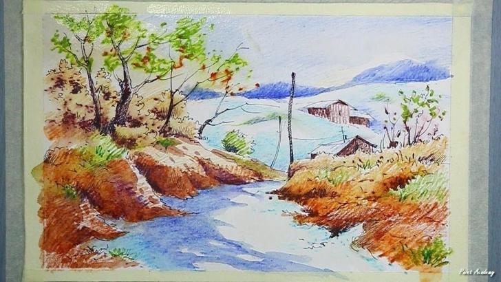 Fascinating Watercolor Pencil Art Free Watercolor Pencil Scenery Painting Tutorial - Youtube | Watercolor Pics