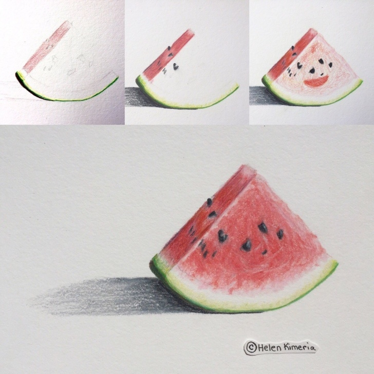 Fascinating Watermelon Pencil Drawing Free A Stage-By-Stage View Of My Color Pencil Drawing Of The Wa… | Flickr Pics