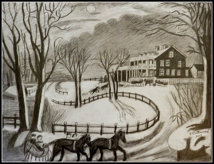 Fascinating Winter Pencil Drawings Techniques for Beginners Black & White Pencil Drawing Of Currier & Ives Winter Scen… | Flickr Image
