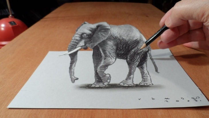 Fine 3D Painting On Paper With Pencil for Beginners Trick Art On Paper. Magic Realism. How To Draw 3D Elephant Pic