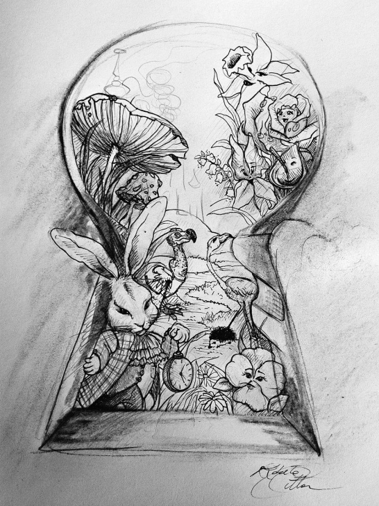 Alice In Wonderland Pencil Drawings