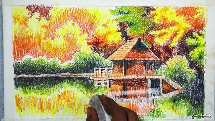 Fine Beautiful Colour Pencil Drawings Free How To Draw An Beautiful Autumn Scenery In Color Pencil | Step By Pictures