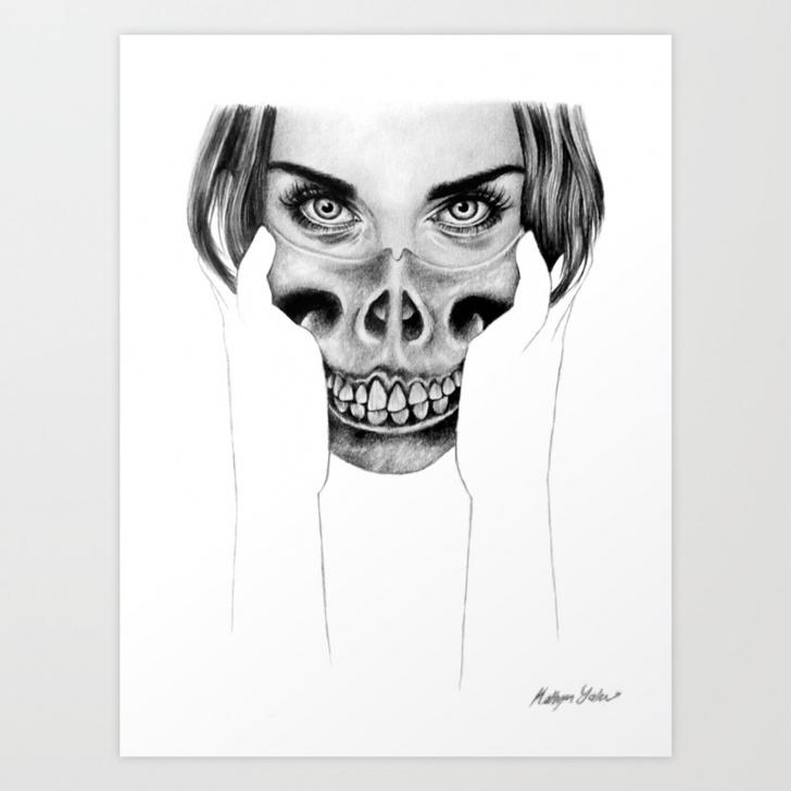 Fine Black Pencil Art Techniques Art Work - Pencil Drawing - Graphite - Black And White - Print - Portrait -  Dark - Skull Art Print Photos