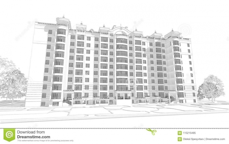 Fine Building Pencil Sketch Lessons 3D Pencil Sketch Illustration Of A Modern Multistory Building Pics