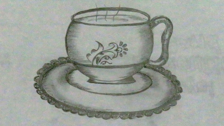 Fine Cup And Saucer Pencil Drawing Lessons Pencil Drawing For Beginners - Cup And Plate Drawing - Easy Drawing For  Kids - Drawing Photo