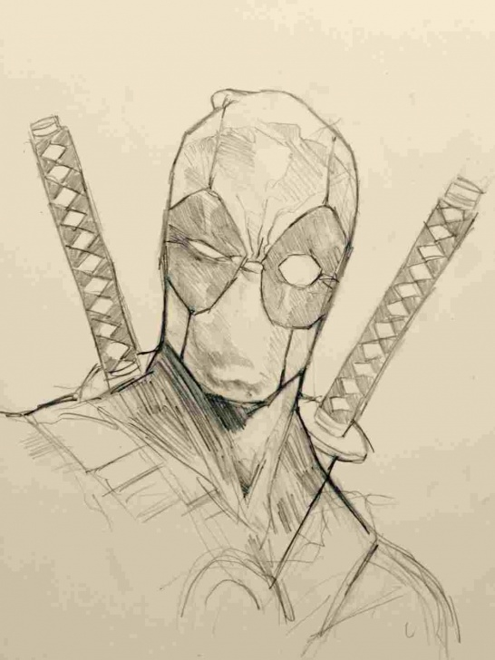 Fine Deadpool Pencil Sketch Free Black And White Deadpool Pencil Drawing Pic