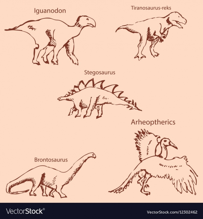 Fine Dinosaur Pencil Sketch Simple Dinosaurs With Names Pencil Sketch By Hand Vector Image Pictures