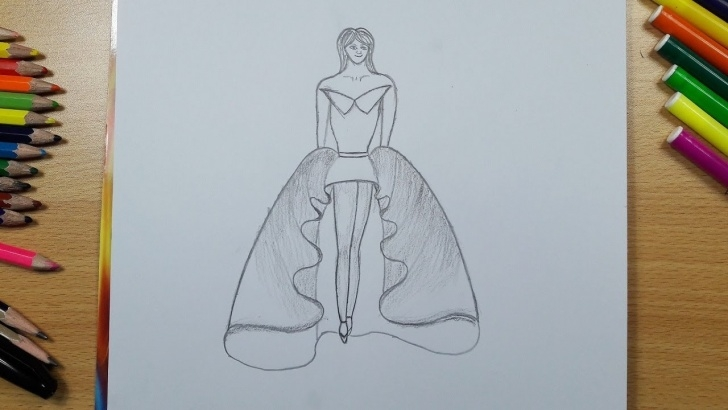 Fine Dress Pencil Drawing Ideas Draw A Wonderful Dress With Pencil Step By Step | Drawing For Kids Pic