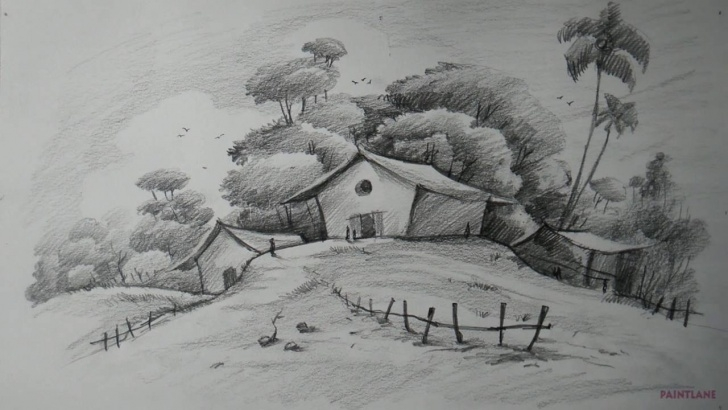 Fine Easy Pencil Shading Drawings Scenery Techniques 12 Beautiful Pencil Shading Scenery Collection - Landscape Drawing Pictures
