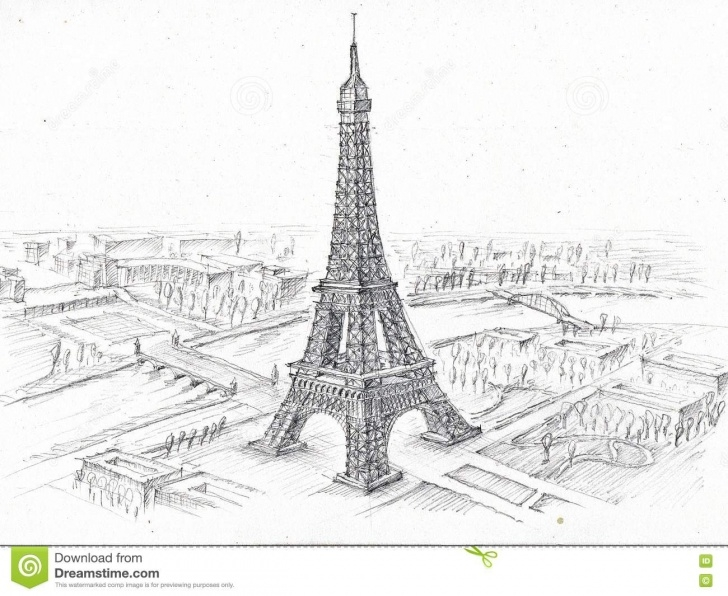 Fine Eiffel Tower Pencil Sketch Tutorial Pencil Drawing Eiffel Tower Stock Illustration - Illustration Of Pictures