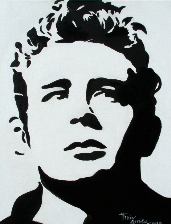 Fine Face Stencil Art Tutorials James Dean | Artsy In 2019 | Pop Art Face, White Art, Art Images