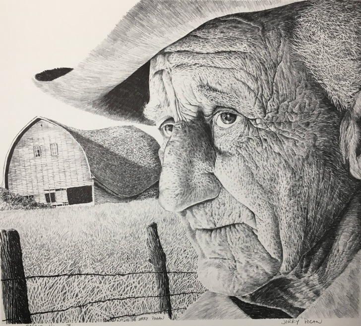 Fine Farmer Pencil Drawing Techniques for Beginners Pencil Sketch Of Indian Farmer And Pencil Drawing Print Barn Old Man Picture