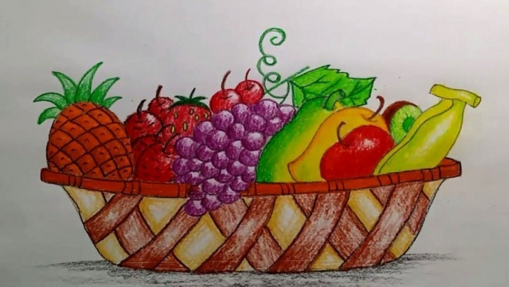 Fine Fruit Basket Pencil Shading Courses How To Draw A Beautiful Fruit Basket Step By Step (Very Easy Pictures