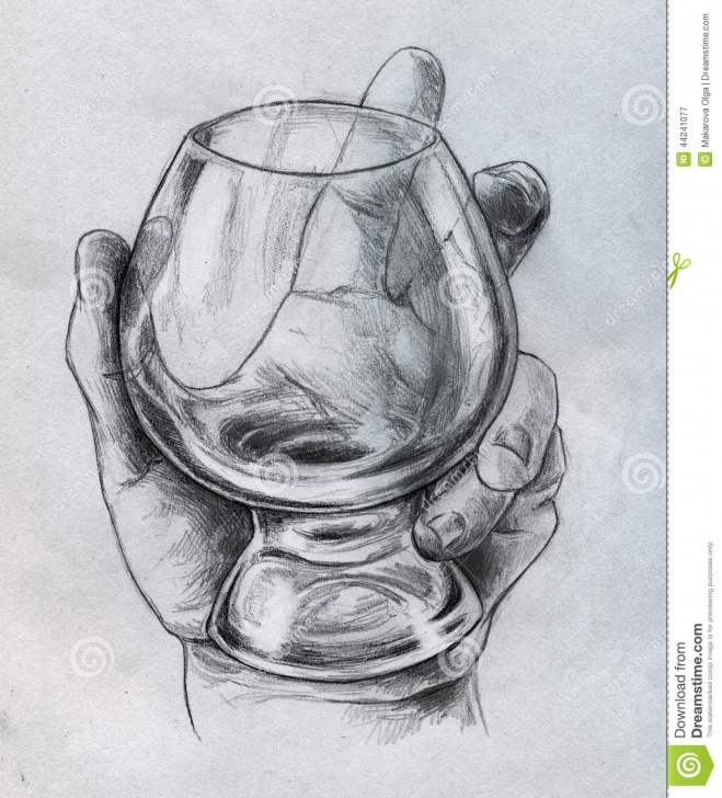 Fine Glass Pencil Sketch Lessons Hand Holding Glass - Sketch Stock Illustration - Illustration Of Images